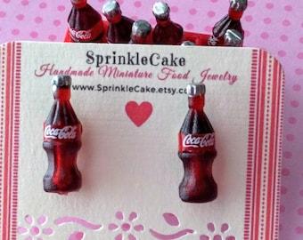 Coke Bottle Earrings - Miniature Food Jewelry - Inedible Jewelry - Soda Bottle Jewelry - Fake Food Jewelry - Kid's Jewelry - Drink Jewelry
