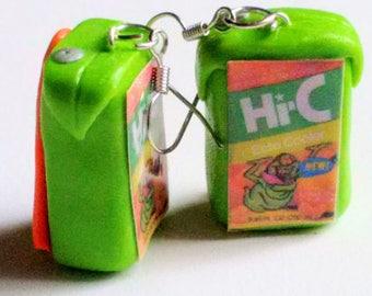Juice Box Ecto Cooler Earrings - Miniature Food Jewelry - Ghostbusters - Inedible Jewelry - Drink Earrings, Kawaii Jewelry - Kid's Jewelry