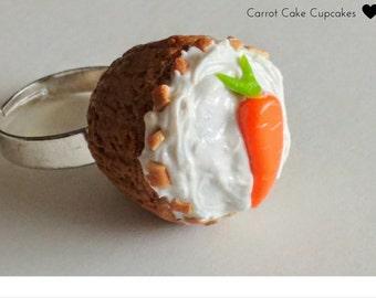 Carrot Cake Cupcake Ring, Minature Food Jewelry, Kawaii Jewelry, Inedible Jewelry, Fake Food Jewelry, Kid's Jewelry, Cupcake Ring, Cake Ring