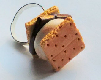 S'mores Ring, Miniature Food Jewelry, Inedible Jewelry, Kid's Jewelry, Kawaii Jewelry, S'mores Jewelry, Food Ring, Fake Food Jewelry, Foodie