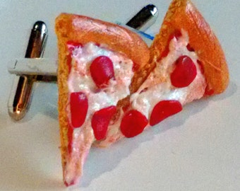 Pepperoni Pizza Cuff Links - Miniature Food Jewelry - Inedible Jewelry - Pepperoni Pizza Accessories - Gifts for Him, Pizza Slice Cuff Links