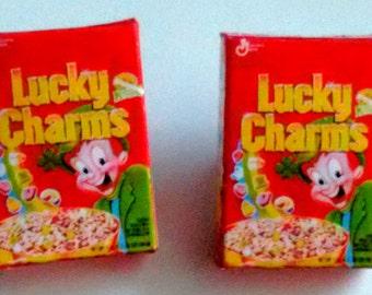 Box of Lucky Charms Earrings - Miniature Food Jewelry - Inedible Jewelry - Box of Cereal Jewelry - Kawaii Jewelry - Kid's Jewelry, Junk Food
