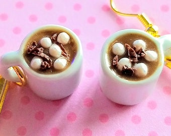 Cup of Hot Chocolate Earrings - Miniature Food Jewelry - Inedible Jewelry - Hot Cocoa Mugs Earrings, Kid's Jewelry, Holiday Jewelry, Gifts
