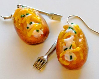 Baked Potato Earrings, Miniature Food Jewelry, Holiday Jewelry, Inedible Jewelry, Loaded Potato Earrings, Junk Food Jewelry, Gift for Foodie
