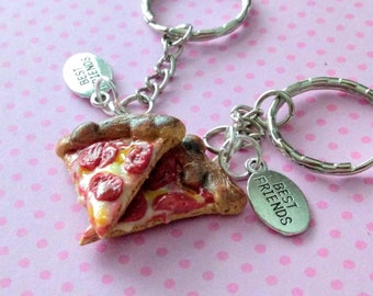 New York Style Pepperoni Pizza Slices BFF Keychains, Miniature Food Jewelry, Inedible Food Jewelry, Best Friends Pizza Keychain, Pizza Charm