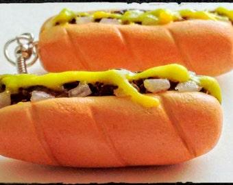 Philly Cheesesteak Earrings - Miniature Food Jewelry, Inedible Earrings, Statement Earrings, Junk Food Jewelry, Sub Earrings, Kawaii Jewelry