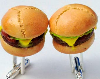 Melted Cheeseburger Deluxe Cuff Links - Miniature Food Jewelry - Inedible Jewelry - Food Cuff Links - Wedding Gifts - Sandwich Cuff Links
