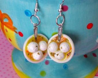 Matzo Ball Soup Earrings, Miniature Food Jewelry, Jewish Food Jewelry, Inedible Jewelry, Passover Jewelry, Matzah Ball Soup Earrings, Kawaii