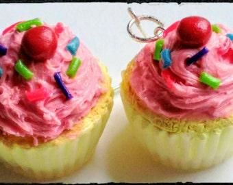 Strawberry Frosting Cupcake Earrings - Miniature Food Jewelry, Inedible Jewelry, Dessert Jewelry, Kawaii Jewelry, Cupcake Jewelry, Fake Food