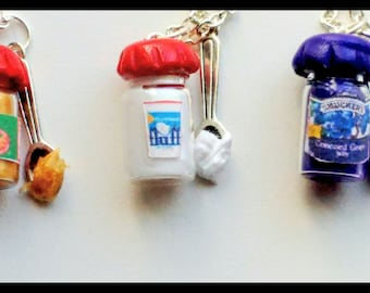Best Friends PB, Fluff and Jelly Necklace, Miniature Food Jewelry, Inedible Jewelry,  Peanut Butter and Fluff Jewelry, BFF Necklace - Kawaii
