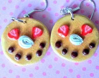 Happy Face Pancake Earrings, Miniature Food Jewelry, Inedible Jewelry, Pancake Jewelry, Kid's Jewelry, Breakfast Jewelry, Kawaii Jewelry