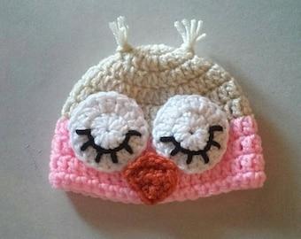Sleeping Owl Crochet Hat Photo Prop