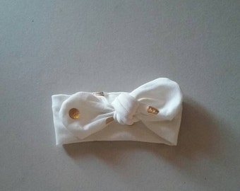 White with Gold Polka Dots Baby Headband