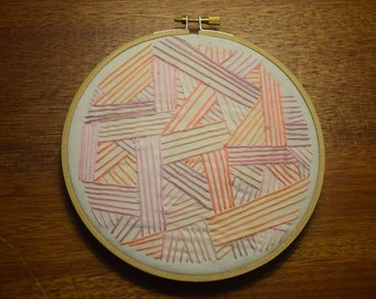 Pink Geometric Embroidery,  Hoop Art, Embroidery Art, Hand-Stitched Embroidery, Abstract, 6in Hoop
