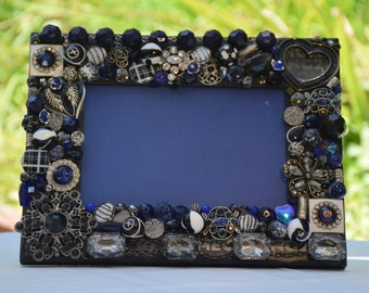 Jeweled Mosaic Black Navy Silver Picture Frame, Hand Decorated, 4 inch x 6 inch