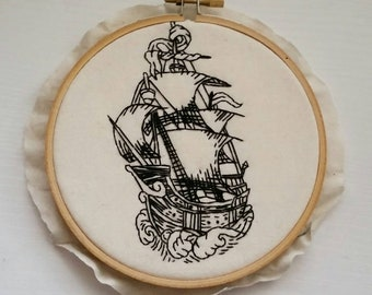 Ship Blackline 5 inch Hand-Stitched Modern Embroidery Hoop