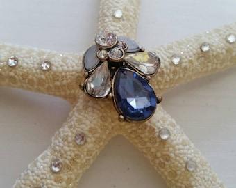 Sparkle Starfish Silver and Blue Medium