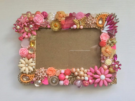 Jeweled Picture Frame Pink and Gold Flowers