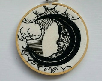 Vintage Man-in-the-Moon 5 inch Hand-Stitched Modern Embroidery Hoop