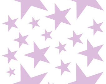 52 White Vinyl Star Shaped Bedroom Wall Decals Stickers Teen Etsy
