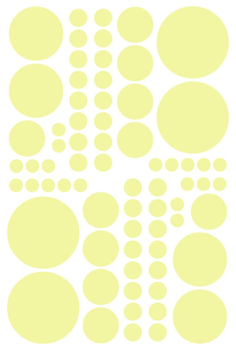Removable Wall Stickers Kids Rooms Teen/'s Great for the Bedroom Nursery/'s and Dorm Rooms Pale Yellow Vinyl Polka Dots