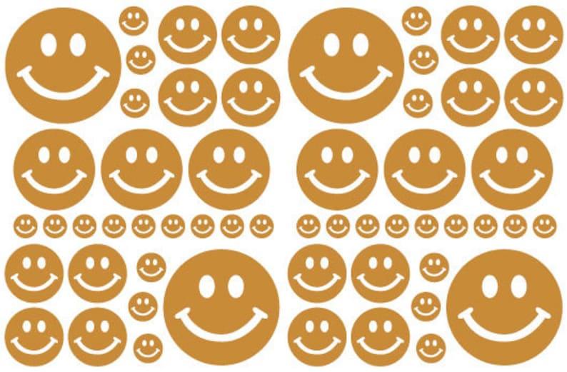 56 Caramel Tan Smiley Face Vinyl Polka Dots Bedroom Wall Decals Stickers Teen Kids Nursery Dorm Room Removable Custom Made Easy to Install