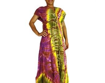 Multi-Color Hippie Gypsy 100 % Tie Dye Cotton Long Maxi Kimono Dress S-L (TD 329)