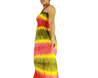 Smocked off shoulder dress tie dye cotton  boho smock tube dress maxi summer sundress comfy beach casual dress long skirt (TD 120)