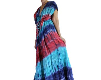 Beach Hippie Gypsy 100 % Tie Dye Cotton Long Maxi Kimono Summer Dress Plus size (TD 332)
