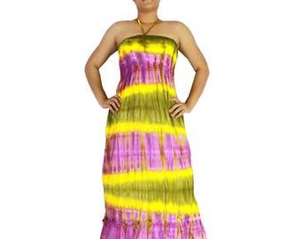 Summer smocked tie dye cotton maxi sundress comfy beach casual wear (128)