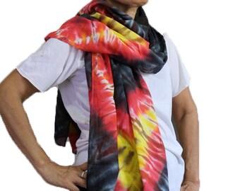 Black Yellow Orange Tie Dye Cotton Wrap Scarf Cotton Shawl Summer Beach Accessories (9)