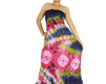 Smocked tie dye off shoulder dress tie dye cotton 2 in 1 boho  tube dress maxi summer sundress comfy beach casual dress long skirt (402)