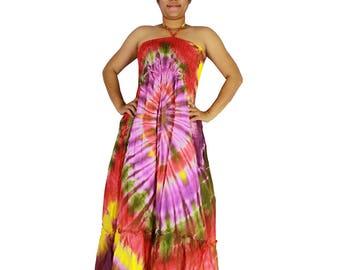 Smocked off shoulder dress tie dye cotton 2 in 1 boho  tube dress maxi summer sundress comfy beach casual dress long skirt 108