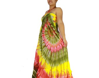 Off Shoulder Boho Hippie 100 % tie dye cotton 2 in 1 smock tube dress maxi summer sundress comfy beach casual dress long skirt (118)