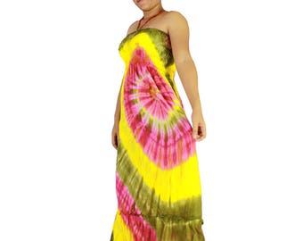 Boho Hippie 100 % off shoulder  tie dye cotton 2 in 1 smock tube dress maxi summer sundress comfy beach casual dress long skirt (TD 72)