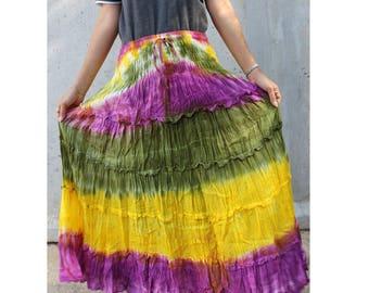 Purple Green Yellow Tie Dye Cotton  Boho Hippie Gypsy Comfy Summer Casual Long Smock Elastic Waist Skirt  Short dress S-L (20)
