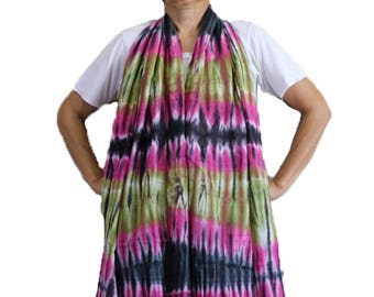Tie dye Cotton Scarf Circle Wrap Shawl Women's Fashion Summer Beach Head Wrap Accessories (5)