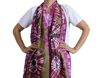 Chic Colorful Tie Dye Cotton Scarf  Handmade Wrap Shawl Beach Accessory   (10)