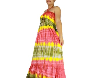 Smocked rainbow tie dye cotton 2 in 1   boho hippie off shoulder  tube dress maxi summer sundress comfy beach casual dress long skirt (65)