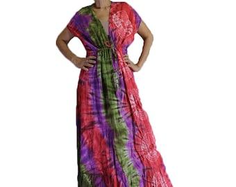 Multi-Color Hippie Gypsy 100 % Tie Dye Cotton Long Maxi Kimono Dress S-L (TD 300)