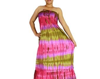 Smocked cotton tie dye light and soft smock sleepless boho long summer sundress (TD 124)