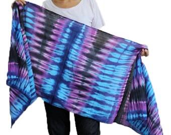 Blue Purple Tie dye Cotton Scarf /Shawl in Tie dye /Warp Scarf /Unique Handmade Scarves Accessories (6)
