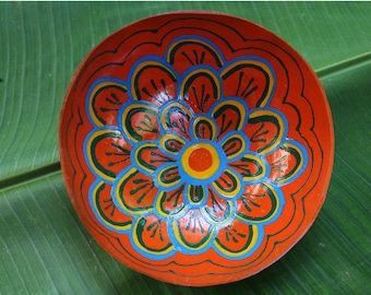 Coconut bowl Hand Painted  Decorative  Handmade Coconut Shell Wooden Handcraft Bowl (PC 26)