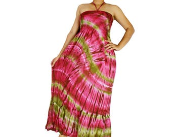 Smocked tie dye off shoulder dress tie dye cotton  boho smock tube dress maxi summer sundress comfy beach casual dress long skirt (426)