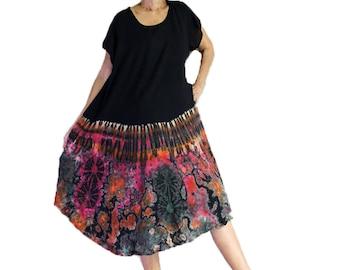 Plus size Women  Gypsy Boho Hippie Summer Beach Tie Dye Rayon Free Size Comfy Dress (TD 20)