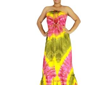 Off shoulder dress tie dye cotton 2 in 1 boho smock tube dress maxi summer sundress comfy beach casual dress long skirt (TD 80)