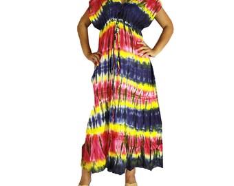Multi-Color Hippie Gypsy 100 % Tie Dye Cotton Long Maxi Kimono Dress S-L (TD 19)