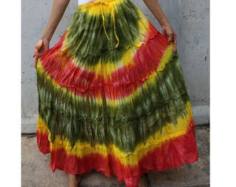 Yellow Green Orange Tie Dye Cotton  Boho Hippie Gypsy Comfy Summer Casual Long Elastic Waist Skirt  Short dress S-L (TD 150)