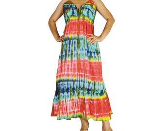 Hippie Gypsy Tie Dye Cotton Long Summer Dress, Halter Back Smock Dress, Maxi Dress M-XL (DMSS 332)