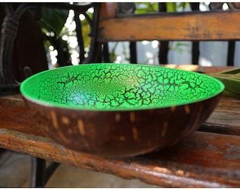Coconut Bowl  Hand Painted Decorative  Handmade Coconut Shell Handcraft Bowl (PC 44)